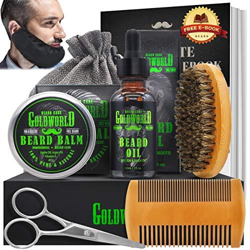 Beard Kit,Beard Growth Kit,Beard Grooming Kit,w/Beard Guard,Beard Growth Oil,Beard Balm Conditioner,Beard Brush,Beard Comb,Scissor,Storage Bag,E-Book,Beard Care & Trimming Kit Gifts for Men Him