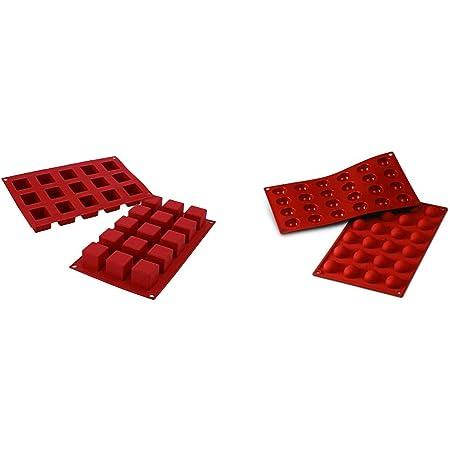 Silikomart 26.105.00.0060 SF105 Moule Forme Cube 15 Cavités Silicone Terre Cuite & 20.006.00.0060 SF006 Moule Forme Demi-Sphères 24 Cavités Silicone Terre Cuite