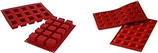 Silikomart 26.105.00.0060 SF105 Moule Forme Cube 15 Cavités Silicone Terre Cuite & 20.006.00.0060 SF006 Moule Forme Demi-S...