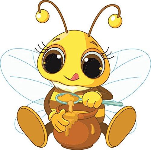 U24 Aufkleber Biene mit Honig Autoaufkleber Sticker Konturschnitt