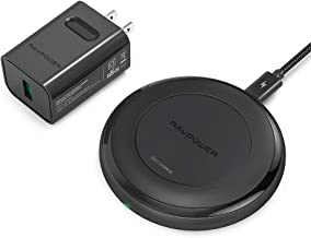 Fast Wireless Charger RAVPower 7.5W Compatible iPhone 11/Xs MAX/XR/XS/X/8/8 Plus, with HyperAir, 10W Compatible Galaxy S9, S9+, S8, S7 & Note 8 and All Qi-Enabled Devices (QC 3.0 Adapter Included)