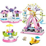 BRICK STORY Amusement Park Building Set Fairground Ferris Wheel Toy with 4 Mini Dolls,Show Stage Building Bricks Set 610 Pieces Building Blocks Sets for Girls Age 6-12 and Up