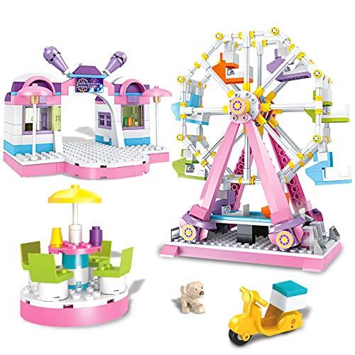 Brick Story Girls Building Set Amusement Park Ferris Wheel Toy Show Stage with 4 Mini Dolls,Building Bricks 610 Pieces Building Blocks Girls Friends Age 6-12