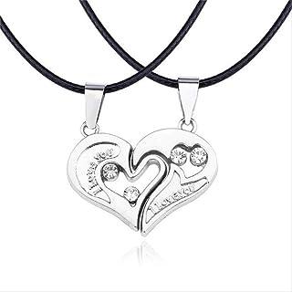 TONVER Forever Love Anello in acciaio inossidabile Collana Coppia Lui e lei Regali per coppie Collana di coppie