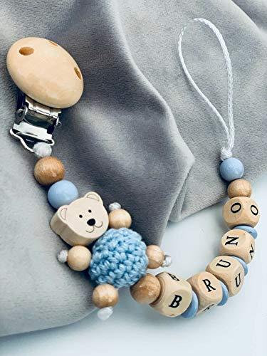 Schnullerkette mit Namen Natur Holz & Pastellblau Teddy Bär Junge personalisierte Baby Geschenk