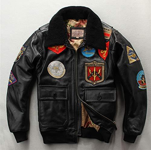 Herren Lederjacke Stickerei Slim Fit Retro Bomber Motorrad Biker Outwear Zipper,Schwarz,XL