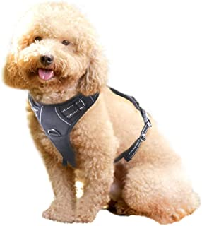 WapaW Dog Harness No-Pull Pet Harness Adjustable Outdoor Pet Vest 3M Reflective Oxford Material Vest for Dogs Easy Control for Small Medium Large Dogs (Medium, Black)