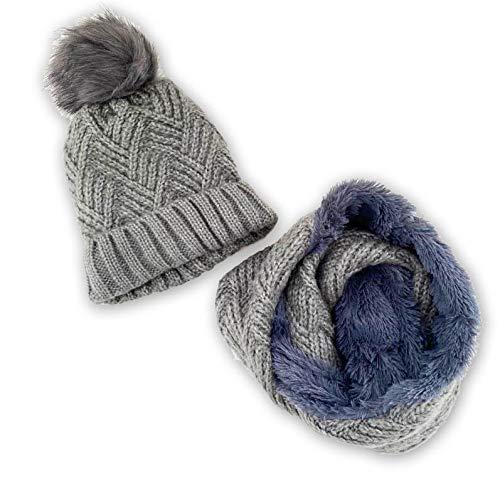 Novadis Set invernale da donna e ragazza, berretto con pompon e collo rotondo in lana