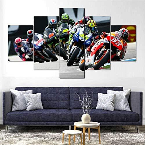 wodclockyui 5 Piezas Cuadro de Lienzo - Motogp Marquez Rossi Bike Race Pintura 5 Impresiones de imágenes Decoración de Pared para el hogar Pinturas y Carteles de Arte HD 200cmx100cm sin