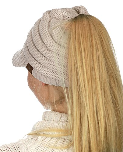 C.C BeanieTail Warm Knit Messy High Bun Ponytail Visor Beanie Cap, Dark Melange Gray