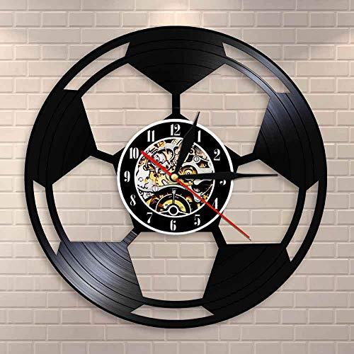BFMBCHDJ Fußball Wandkunst Home Decor Wanduhr Fußball Schwarz & Weiß Classic Ball Vintage Vinyl Schallplatte Wanduhr Fußball Liebhaber Geschenk