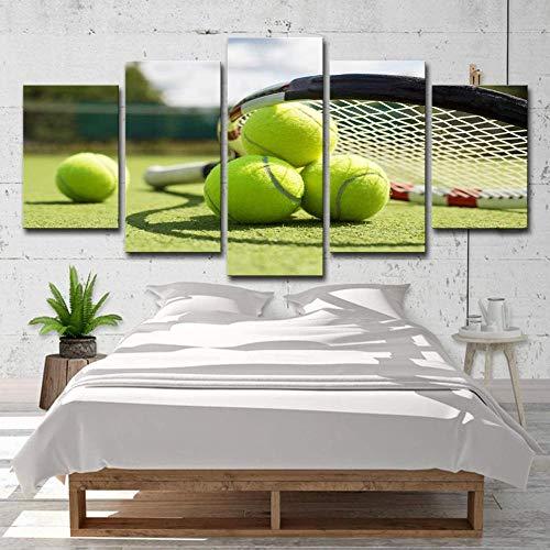 5 cuadros de lienzo imágenes de impresión de alta definición Imágenes de fondo de dormitorio y carteles enmarcados- Tenis Raqueta de tenis