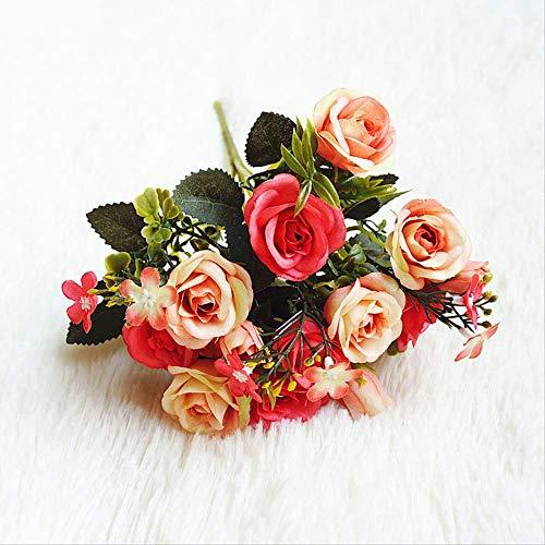 UD-strap Simulation des Bouquet Der Europäischen Konkubinen Kleinen Rose Sh3 Fake Blumenheim-Dekoration Simulation Gefälschte Blumenböte 28cm-3 Beam Red 7