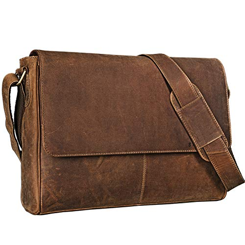 STILORD \'Oskar\' Umhängetasche Laptoptasche 15 Zoll aus echtem Leder Messenger Bag Business Vintage Look, Farbe:mittel - braun
