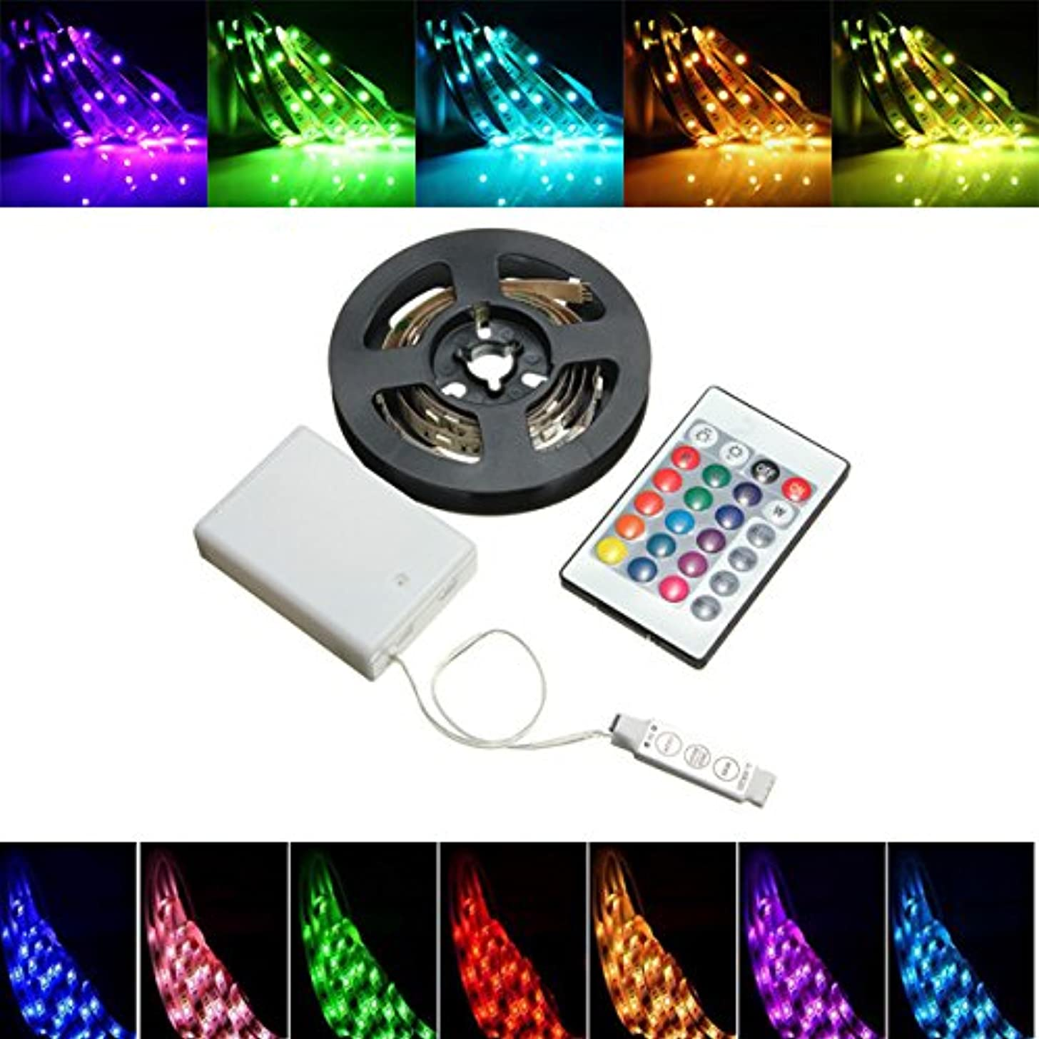 HVTKL Battery Powered RGB Non-Waterproof LED Flexible Tape Rope Strip Light Kit + IR Remote DC5V (Size : Length 50cm)