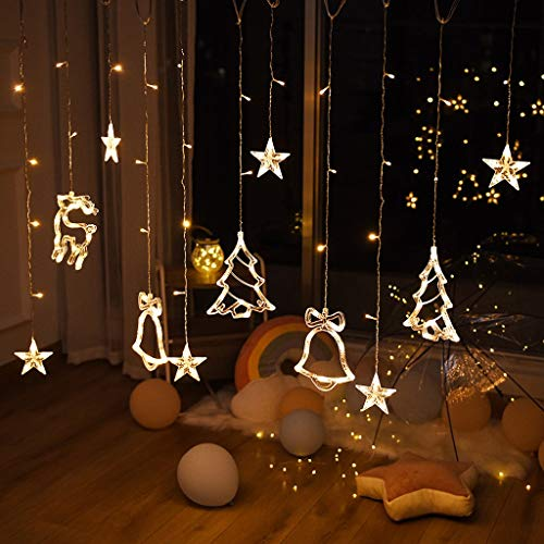 JWDYA Árbol de Navidad Campanas Cadena de Luces Luz de Cortina Luces...
