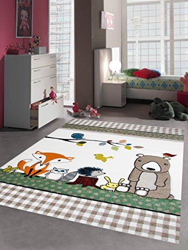 Kinderteppich Spielteppich Kinderzimmerteppich Tiere mit Bär Fuchs Hase Igel Eule Vögel in Beige Braun Orange, Größe 80x150 cm