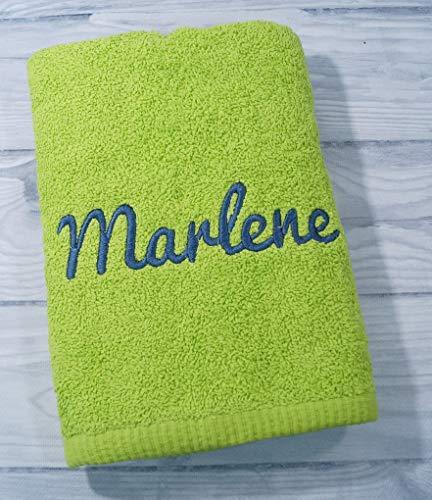 Handtuch mit Namen bestickt 100% Baumwolle Geschenk Badetuch 500 g/m2 50 x 100 cm (50 x 100 cm, Grün) (700222)