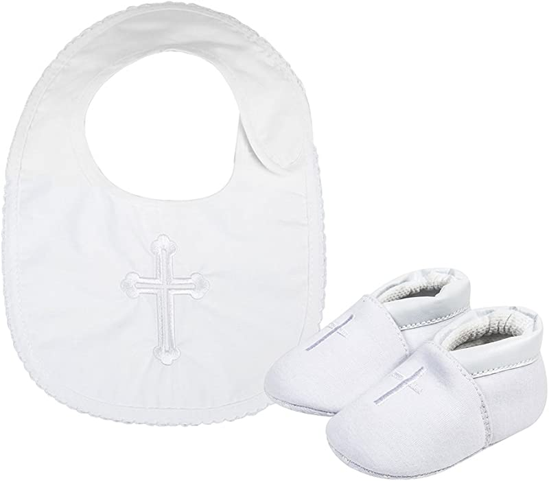 Baby Boys Premium Soft Sole Cross Christening Baptism Slipper Shoes With Embroidered Cross Bib 2 Pack 0 3 Months