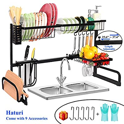 Over the Sink Dish Drying Rack - Length Adjustable 2 Tier Stainless Steel Dish Rack, (25.6''- 37'') Drainer Shelf Utensil Holder, For Kitchen Supplies Organizer Storage Space Saver Stand (Black) by Haturi