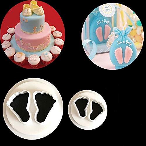 Moldes para hornear galletas y pasteles con corte de diseño de pies de bebé