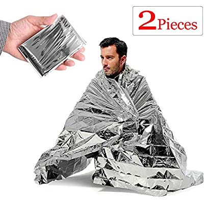 Emergency Thermal Blankets (2-Pack), Silver 82.6''x55'', Survival Gear for Adults & Kids, Mylar Blankets Reflective,Material Conserves Heat ,Bug Out Bags , First Aid Kits, Car Emergency Kit