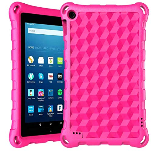 Fire 7 Tablet Case, Fire 7 Kids Case-DiHines Light Weight Kids Friendly Protective Case Cover for Fire 7 Tablet 2019/2017/2015(Rose)