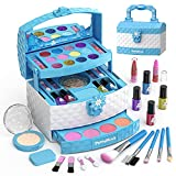 PERRYHOME Kids Makeup Kit for Girl 35 Pcs Pretend Play Makeup Set, Washable Makeup Kit Real Cosmetic Toy Beauty Set with Box, Safe & Non-Toxic Frozen Makeup Set for 5-12 Years Old Kids Birthday Gift