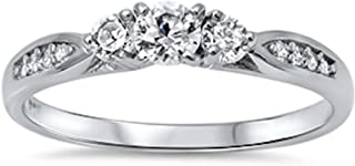 Oxford Diamond Co Cubic Zirconia Fashion Promise .925 Sterling Silver Ring Sizes 3-12