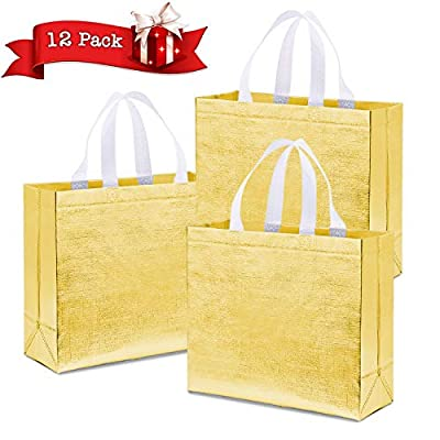 Farielyn-X 12 PACK Glossy Reusable Grocery Bag, Tote Bag with Handle, Non-woven Fashionable Stylish Present Bag, Gift Bag, Goodies Bag, Shopping Promotional Bag (Gold 12.7 x 4.7 x 11.1 Inch)