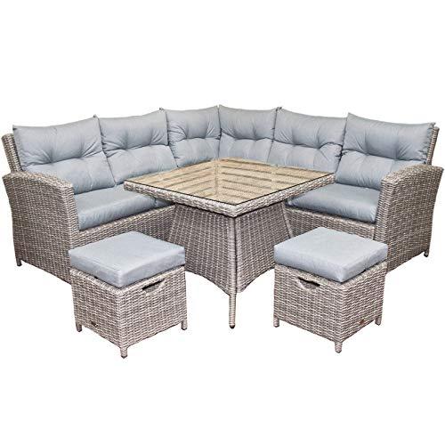 Oren Athens 5-7 Seater Rattan Lounge High Back Corner Sofa Set - Grey Flat Weave with Grey Cushions
