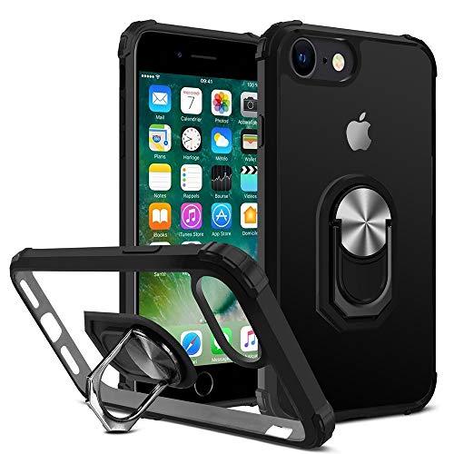 DOSMUNG Custodia Compatibile con iPhone SE 2020/8/7/6S/6, Cover con 360°Rotante Anello Supporto+Duro Pannello Posteriore PC+TPU Morbido Antiurto Bumper, Magnetica per Supporto da Auto Custodia - Nero