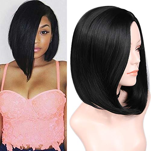 Quick Wig Black Side Part Wigs 14 inches Short Straight Bob Wigs Bowl Cut Wig Heat Resistant Natural Looking Synthetic Cosplay Party Wigs for Black Women Natural Black