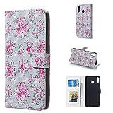 Byr883onJa Funda para smartphone Galaxy M20, con diseño de rosas 3D horizontal, con soporte y ranuras para tarjetas, marco de fotos y cartera