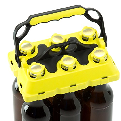 CLICK-IT BOB The Bottle Buddy Flaschenträger I Trage-Hilfe für bis zu 6 Bier-Flaschen I cooles & praktisches Gadget für Deine Party - für 0,33 l Glas-Flaschen I Bottle Carrier (gelb/Schwarz)