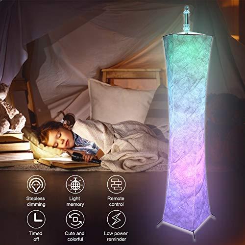 S SMAUTOP Lámpara de Pie de Color, Lámpara de Pie Moderna con Mando a Distancia, Modos Monocromo y Color Mixto, Brillo y Temperatura de Color Ajustables, Función de Temporización para Habitación, Sala