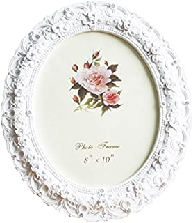 8x10 Inch Oval Picture Frame Photo Frame White Rose Flower Home Decorative Tabletop Wall Mounting Resin Large Frame