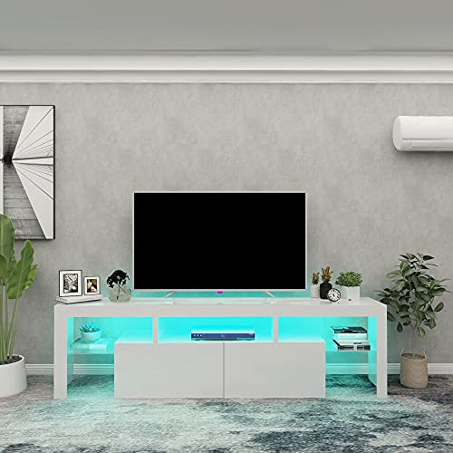 ARMCONE LED TV Stand for 70 Inch, 65+ Inch, 60+ Inch TV White Modern Entertainment Center TV Console with Storage Drawer for Living Room Bedroom