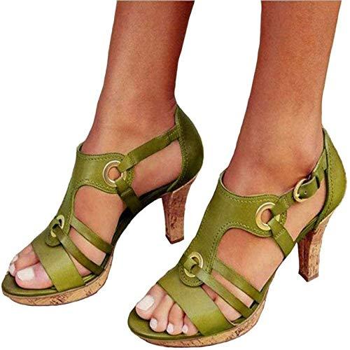 HYWL Pantofole con Plateau Donna estive, Spiaggia Zeppa Sandali da Donna Casual, Ciabatte Antiscivolo Morbido Estate, Sandali Flip Flop da Mare Piscina,Verde,37