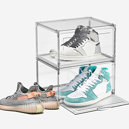 La Caja De Zapatos, Juego De 2 Acrílico Transparente Zapato Contenedor De Almacenamiento Frontal Abra La Zapatilla Deporte Organizador Apilable Para El Zapato Colección Visualización Hombres Mujeres