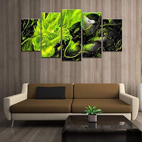 Airxcn Drucke auf Leinwand Home Decor Poster HD-Bilder Drucke Leinwand 5 Stück Modular Qinglong Genji Overwatch Spiel Wohnzimmer Malerei