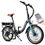 "BLUEWHEEL 20"" klappbares E-Bike I Deutsche Qualitätsmarke I Shimano 7 Gang-Schaltung I EU-konform Klapprad mit App + 250 W Motor + Batterie abnehmbar   Electric Bike 25 km/h bis zu 150 km   BXB55"