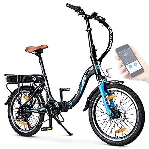 "BLUEWHEEL 20\"" klappbares E-Bike I Deutsche Qualitätsmarke I Shimano 7 Gang-Schaltung I EU-konform Klapprad mit App + 250 W Motor + Batterie abnehmbar | Electric Bike 25 km/h bis zu 150 km | BXB55"