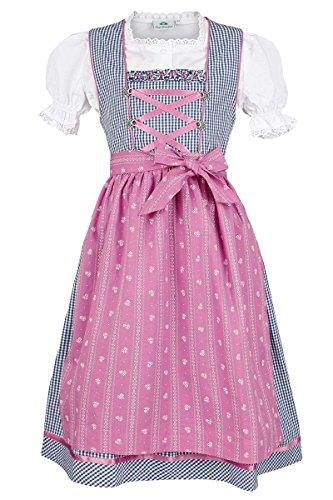 Isar-Trachten Mädchen Kinderdirndl Marine pink mit Bluse, Marine, 116