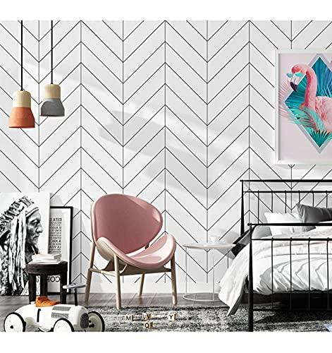 "Peel and Stick Wallpaper Boho Removable Wallpaper Herringbone Stripe Wallpaper for Bedroom Bathroom Kitchen Furniture Self Adhesive Wallpaper Modern Contact Paper Decorative 17.7""×118"" Waterproof"