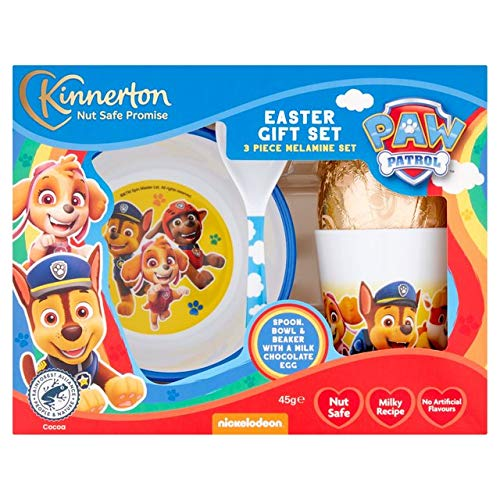 Easter 2021 - Paw Patrol - Chocolate Easter Egg(45g) - 3 Piece Melamine Mealtime Set - Spoon - Bowl and Beaker 250g.
