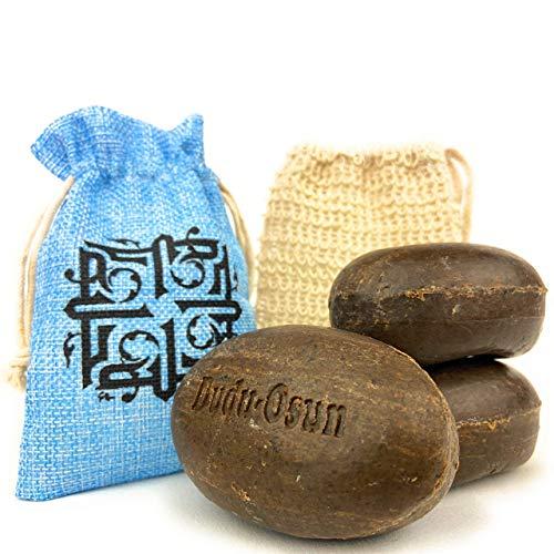 Dudu Osun zwarte zeep (afrikaans) 3x 150 gr + sisal zeepzakken + opbergzakje | douchezeep, vaste shampoo