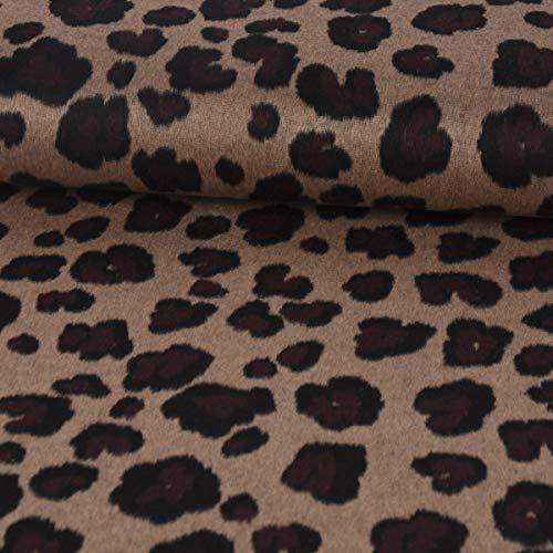 SCHÖNER LEBEN. Bekleidungsstoff Mantelstoff Wolle Leopardenmuster Hellbraun dunkelrot schwarz 1,5m Breite