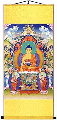 Features Style Tibetan Buddhism Grace Art Thangka Wall Art Hanging Silk Printed Scroll Painting,Wealth God of All Directions,Color:Western Paradise (Color : Gautama Buddha)