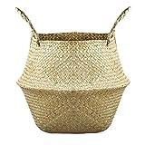 Cesta de la flor plegable Seagrass tejida cesta del almacenaje de paja tejida cesta del almacenaje para los accesorios de la decoración del jardín